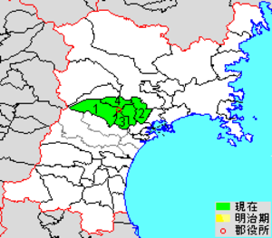 Kurokawa District, Miyagi - Map showing original extent of Kurokawa District in Miyagi Prefecture  colored area=original extent in Meiji period; green=present area plus Tomiya city (3)