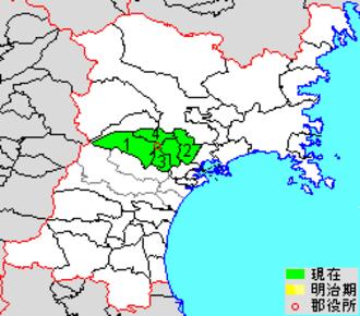Kurokawa District, Miyagi - Map showing original extent of Kurokawa District in Miyagi Prefecture  colored area=original extent in Meiji period; green=present area plus Tomiya city (3)