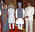 Mohd. Hamid Ansari, the Speaker, Lok Sabha, Smt. Meira Kumar, the Prime Minister, Dr. Manmohan Singh and the Secretary-General, Lok Sabha, Shri P.D.T. Achary at Parliament House during the Joint Session of the Parliament.jpg