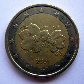 Bi-metallic coin - €2 coin, composed of a core of nickel-brass, ringed by a copper-nickel alloy.