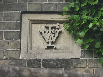 Old Manor Hospital, Salisbury - Monogram of William Corbin Finch still visible on a building of the old hospital.