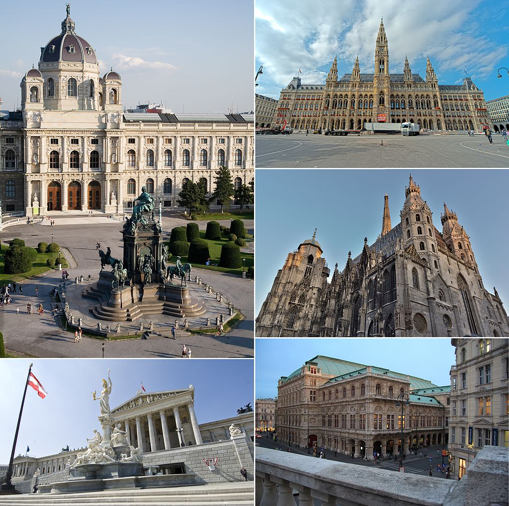 From top, left to right: Kunsthistorisches Museum, Vienna City Hall, St. Stephen's Cathedral, Vienna State Opera, and Austrian Parliament Building
