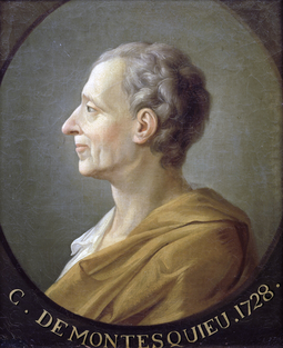 Montesquieu, who argued for the government's separation of powers Montesquieu 1.png