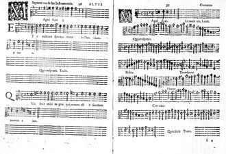 Pages from the printed Magnificat of the Vespers, a page from the alto partbook (left), and the corresponding page from the continuo partbook (right) (Source: Wikimedia)
