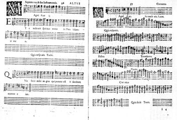 Two pages of printed music from the alto short score, with the voice part left and the corresponding basso continuo right, with names of other instruments