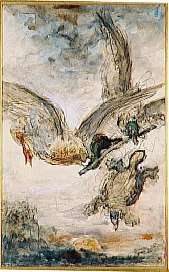 The Tortoise and the Birds - A water colour of La tortue et les deux canards by Gustave Moreau, 1879