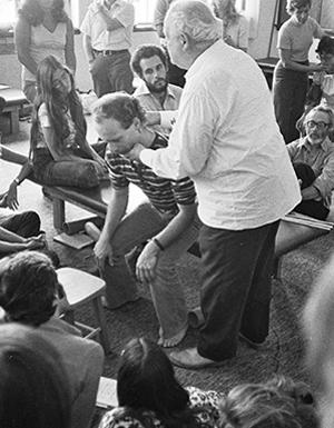 Somatics - Somatic educator Moshe Feldenkrais in 1978, teaching how to rise from a chair