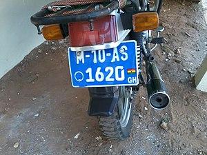 Vehicle registration plates of Ghana - Image: Motorcycle Registration Plate