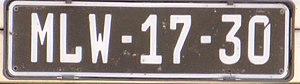 Vehicle registration plates of Mozambique - Image: Mozambique plate 05