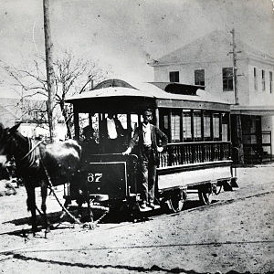 Horsecar - Mule-drawn streetcar, Houston, 1870s.