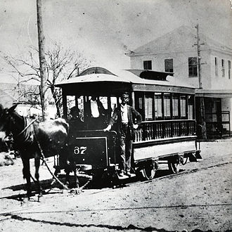 History of trams - Mule-drawn streetcar, Houston, USA, 1870s