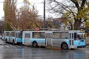 Multiple-unit of ZiU-9 trolleybus in Krasnodar.jpg