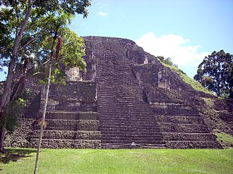 Mundo Perdido, Tikal - The Lost World Pyramid (Structure 5C-54) dominates the complex. View of the restored west face.