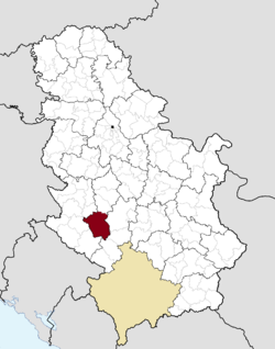 Location of the municipality of Ivanjica within Serbia