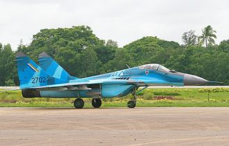 Myanmar Air Force -  A MiG-29B sits on the tarmac