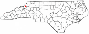 Seven Devils, North Carolina - Image: NC Map doton Seven Devils