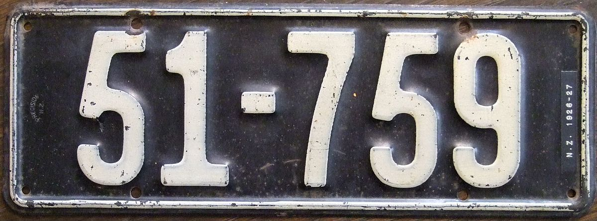 How To Look Up License Plate Number >> Vehicle registration plates of New Zealand - Wikipedia