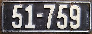 Vehicle registration plates of New Zealand - 1926 national number plate