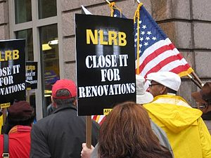 National Labor Relations Board - Union members picketing NLRB rulings outside the agency's Washington, D.C., headquarters in November 2007.