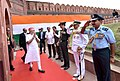 Narendra Modi being received by the Union Minister for Defence, Shri Manohar Parrikar along with the Minister of State for Defence, Shri Subhash Ramrao Bhamre and the three Services Chiefs, on his arrival at Red Fort.jpg