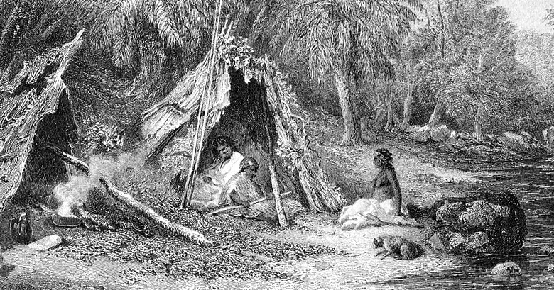 A 19th-century engraving of an Aboriginal Australian encampment, showing the indigenous lifestyle in the cooler parts of Australia at the time of European settlement. Native Encampment by Skinner Prout, from Australia (1876, vol II).jpg