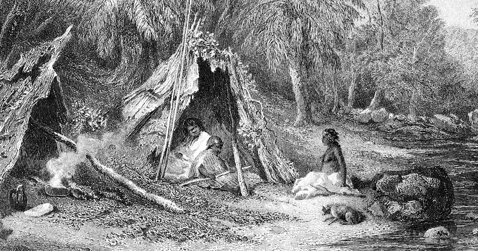 Native Encampment by Skinner Prout, from Australia (1876, vol II)