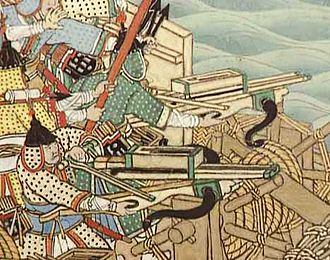Repeating crossbow - Naval battle scroll depicting Korean soldiers utilizing a variant during the Imjin War
