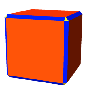 Digon - A nonuniform rhombicuboctahedron with blue rectangular faces that degenerate into digons in the cubic limit.