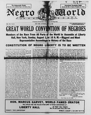 Negro World - Cover of Negro World, July 31, 1920.