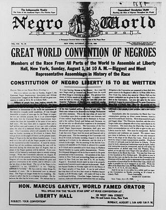 Negro World - Cover of Negro World, July 31, 1920.
