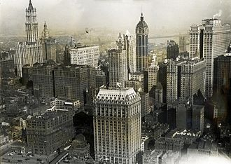 Hudson Terminal - This view from the southwest shows how the Hudson Terminal was situated on what would become the World Trade Center site. The terminal is at center-left; in the background to its left is the Woolworth Building; in the foreground to its right is 90 West Street.