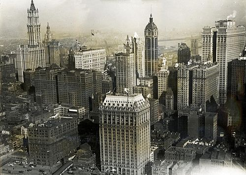 This view from the southwest shows how Hudson Terminal was situated on what would become the World Trade Center site. The terminal is at center-left; in the background to its left is the Woolworth Building; in the foreground to its right is 90 West Street. New York City aerial view 1919.jpg