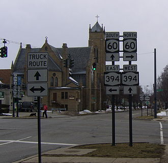 New York State Route 394 - Eastern terminus of NY 60 south/NY 394 west overlap along Sixth Street in Jamestown