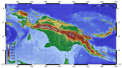 Topographic map of New Guinea. The New Guinea Highlands are the large mountain chain crossing almost the entire island