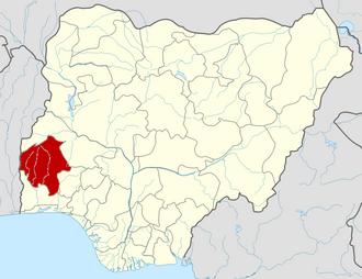 Onko - Location of Oyo state within Nigeria.