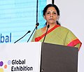 Nirmala Sitharaman addressing at the inauguration of the 2nd Edition of the Global Exhibition on Services-2016 (GES), at India Expo Centre & Mart, Greater Noida, Uttar Pradesh.jpg
