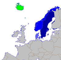 Distribution of the North Germanic languagesBlue - Continental languagesGreen - Insular languages
