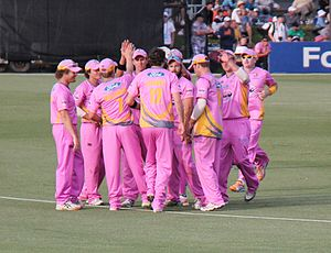 Northern Districts cricket team - Northern Knights celebrate taking Guptill's wicket, 26 December 2011.