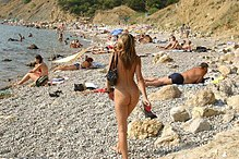 nudist European beach family