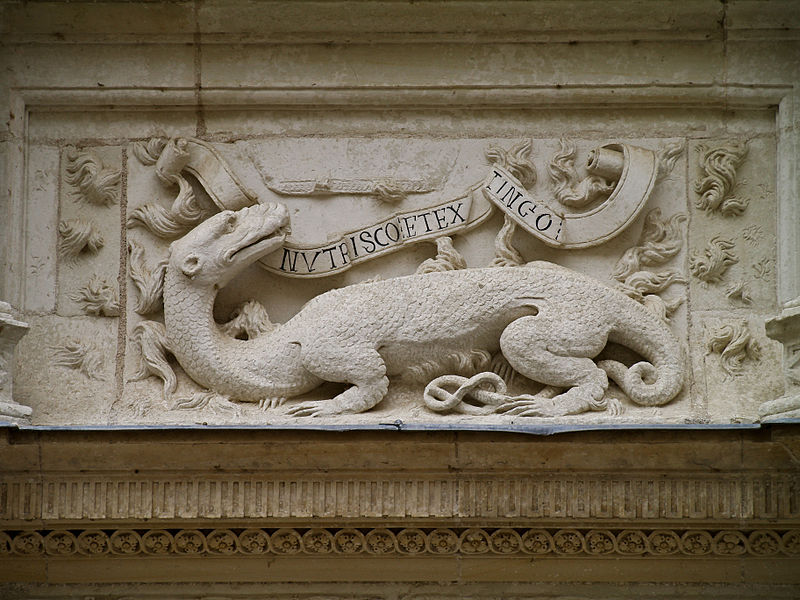 """The salamander, badge of Francis I of France, with his motto: """"Nutrisco et extinguo"""" (""""I nourish and extinguish"""") - Azay-le-Rideau Castle - Loire Valley (Indre-et-Loire), France"""