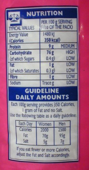 Food energy - The nutritional information label on a pack of Basmati rice in the United Kingdom
