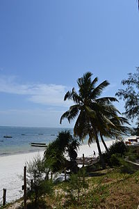Nyali Beach towards the south from the Reef Hotel during high tide in Mombasa, Kenya 3.jpg