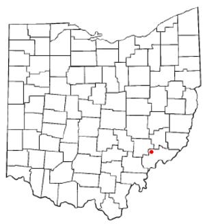 Beverly, Ohio - Image: OH Map doton Beverly