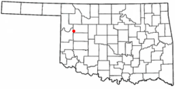 Location of Leedey, Oklahoma