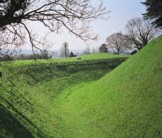 Ditch (fortification) - A ditch and earth bank at Old Sarum, near Salisbury in England, dating from the Iron Age.