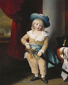 A painting of a young boy with long blonde hair, wearing brown overalls and a blue hat