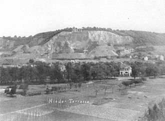 Oberkassel, Bonn - Historic photo, the place where the grave is found is marked by an arrow