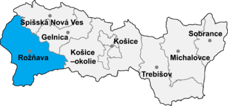 Ardovo - Location of Rožňava District in the Košice Region