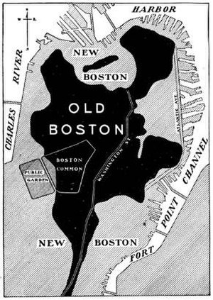 "Shawmut Peninsula - This diagram shows the original dimension of the Shawmut Peninsula. The gray areas marked with the words ""New Boston"" are all land reclaimed during the 19th century."