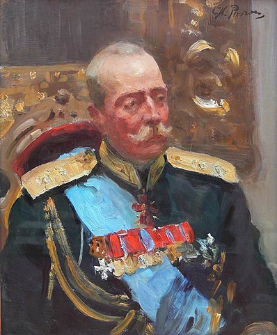 Принц Александр Петрович Ольденбургский, по заказу которого Гославский написал пьесу «Пар» (эскиз И.Е.Репина к картине «Торжественное заседание Государственного совета»).